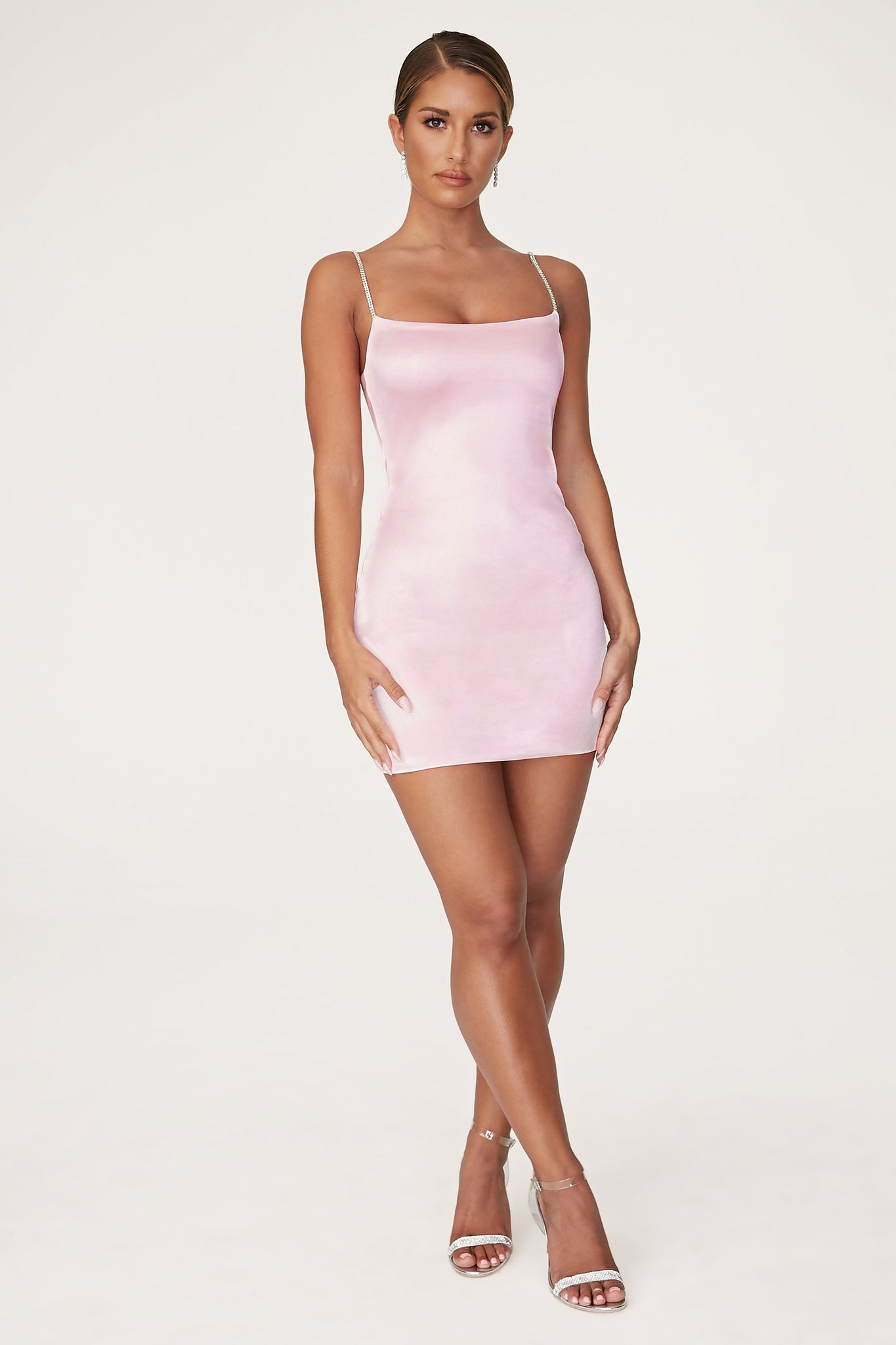 Ruby Diamante Strap Mini Dress - Baby Pink - MESHKI