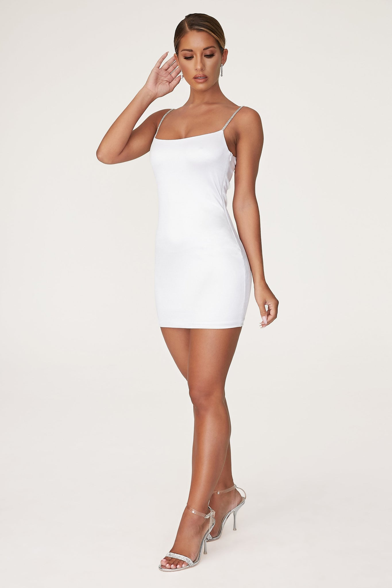 Ruby Diamante Strap Mini Dress - White - MESHKI