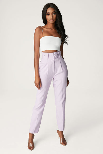 Chester High Waisted Belted Pants - Lilac