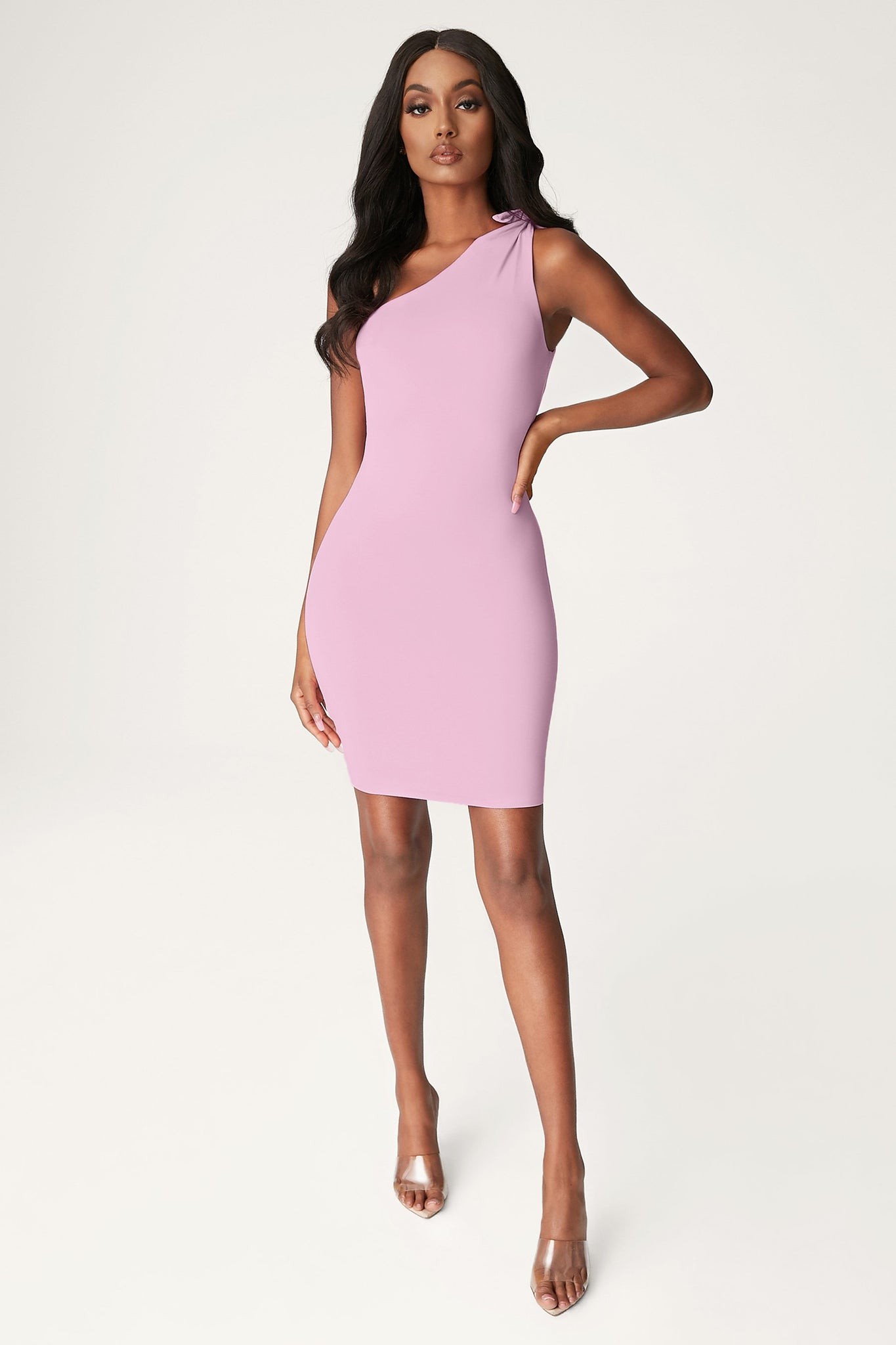 Rosetta Knotted One Shoulder Mini Dress - Pink - MESHKI
