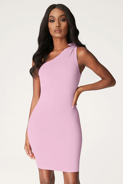 Rosetta Knotted One Shoulder Mini Dress - Pink