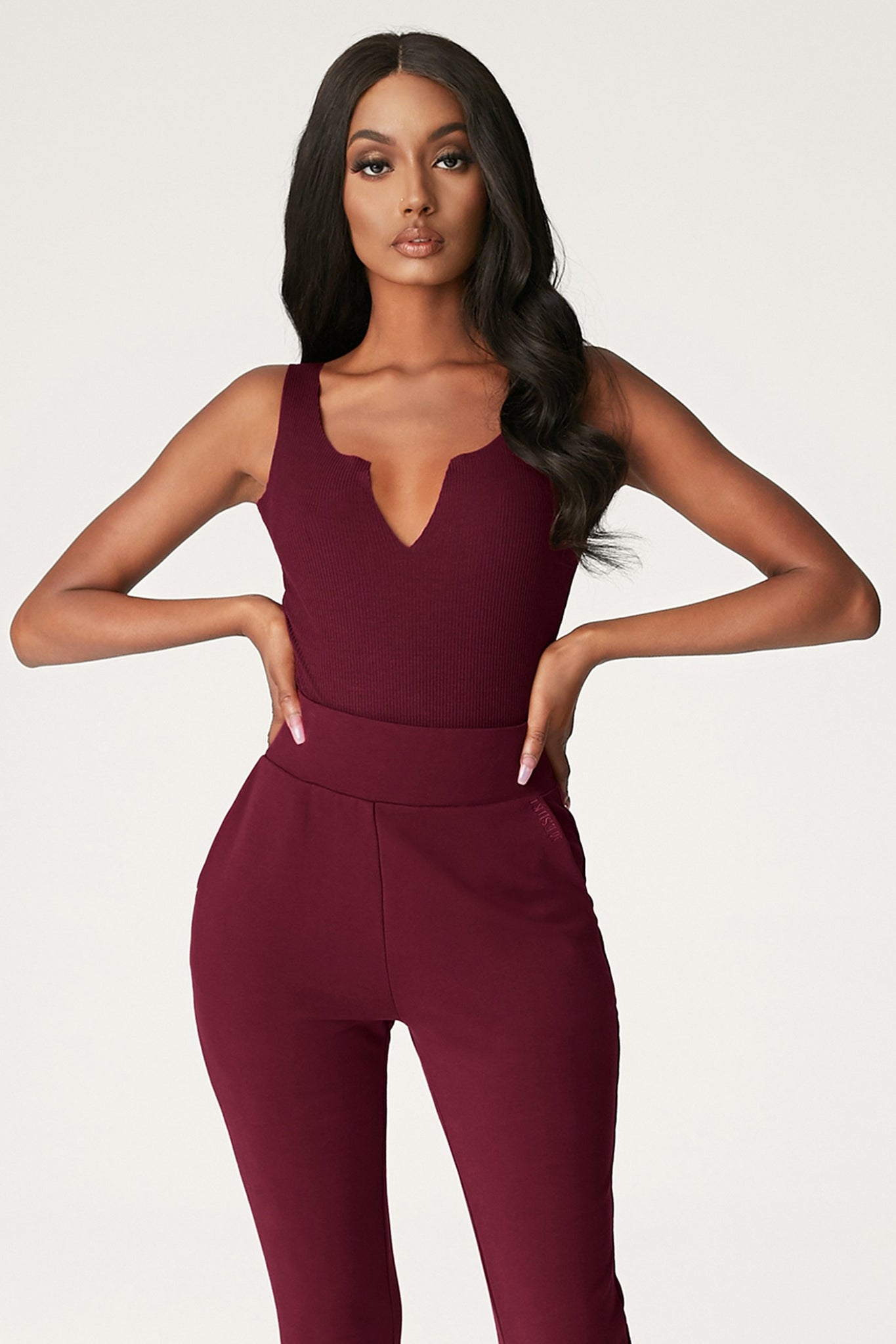 Millie V-Neck Sleeveless Bodysuit - Burgundy - MESHKI