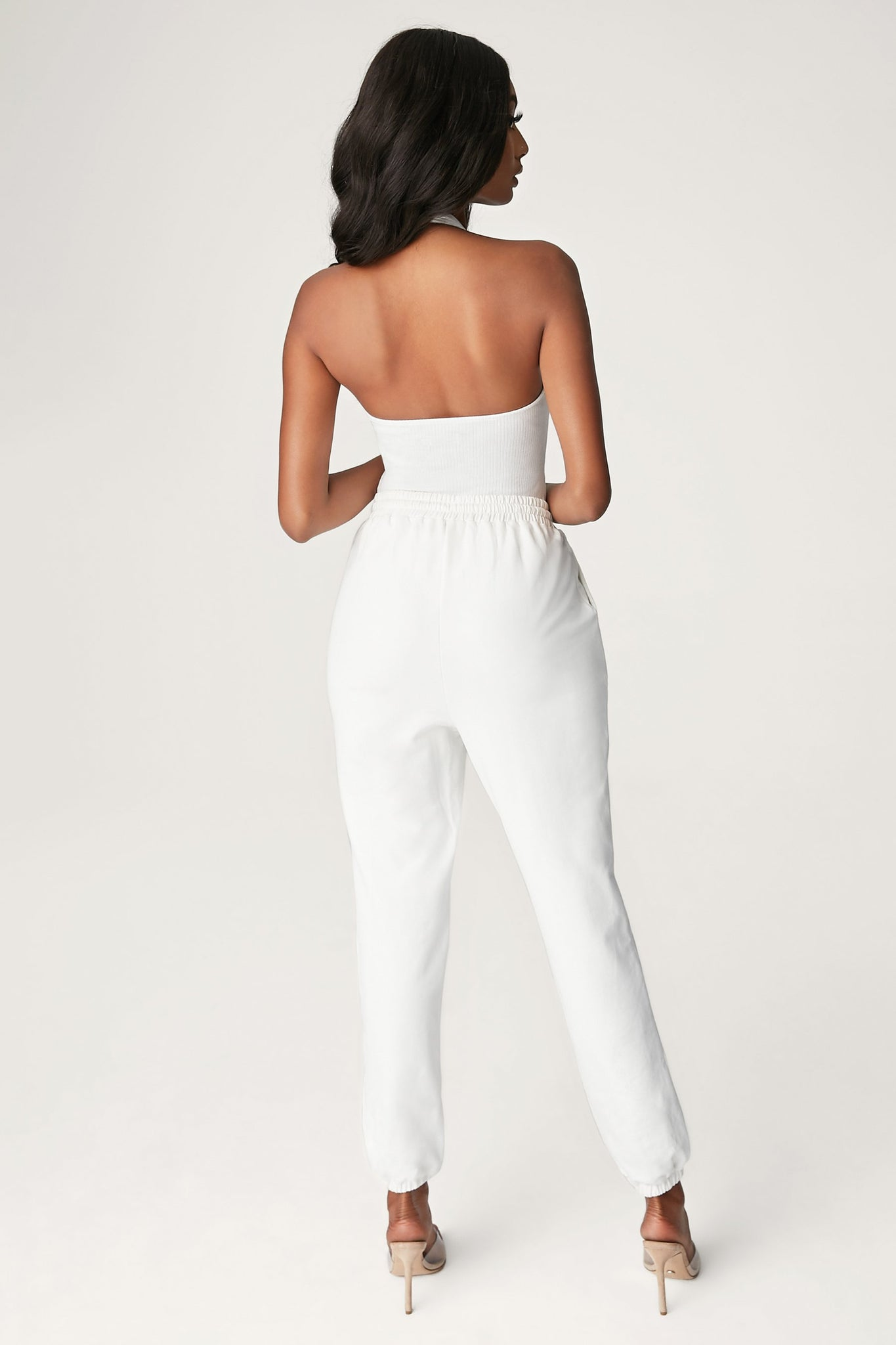 Miley Ribbed Halter Neck Bodysuit - White - MESHKI