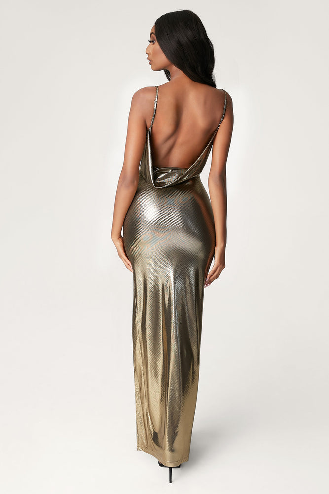 Kaila Cowl Neck Maxi Dress - Gold - MESHKI