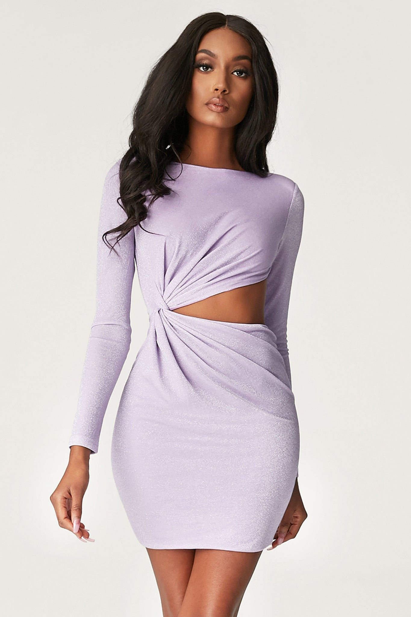Fawn Twist Side Long Sleeve Shimmer Dress - Lilac - MESHKI