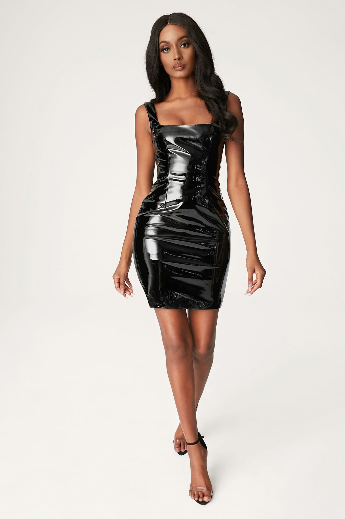Romy Square Neck Latex Mini Dress - Black - MESHKI