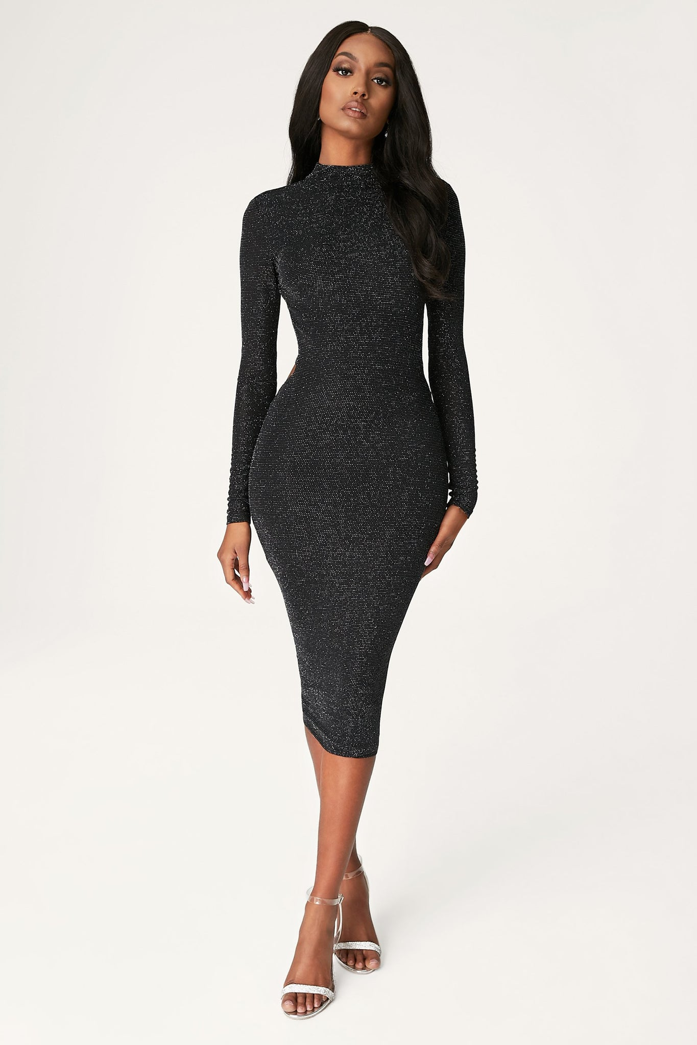 Armelle Long Sleeve High Neck Dress - Black - MESHKI