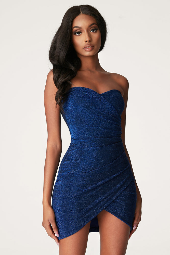 Palma Shimmer Strapless Wrap Dress - Bright Blue - MESHKI