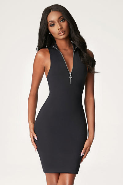 Fiona Sleeveless Zip Front Mini Dress - Black
