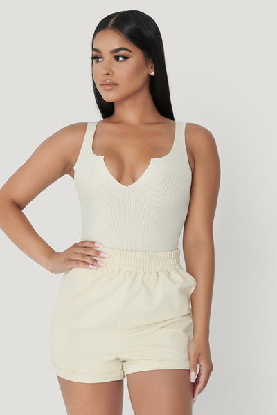 Millie V-Neck Sleeveless Bodysuit - Sand