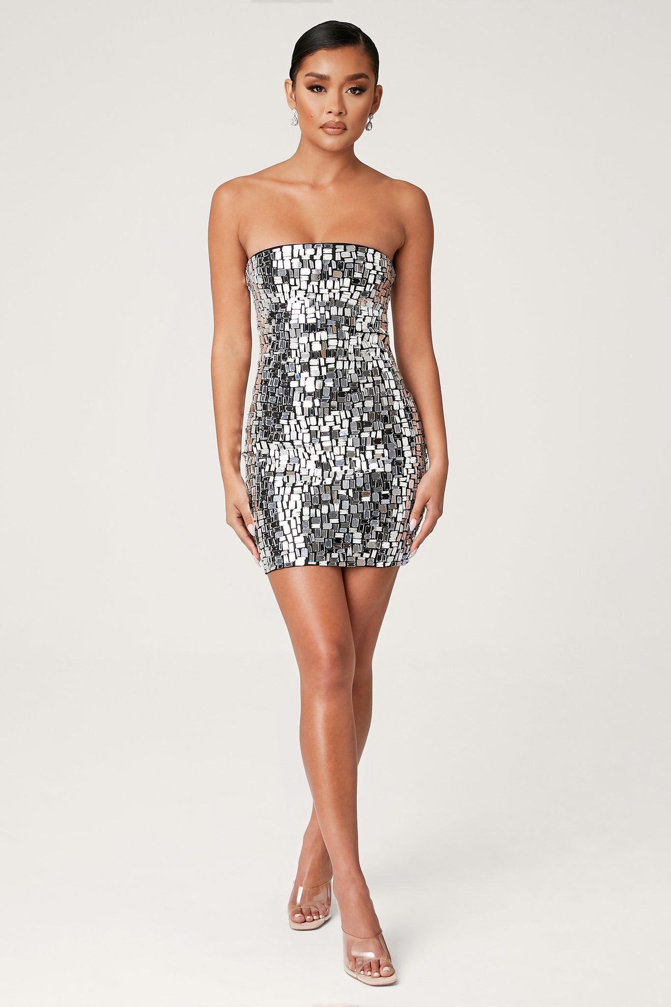Bijou Jewel Mirror Mini Dress - Silver - MESHKI