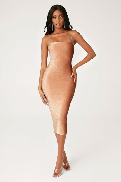 Jalia Thin Strap Shimmer Dress - Bronze