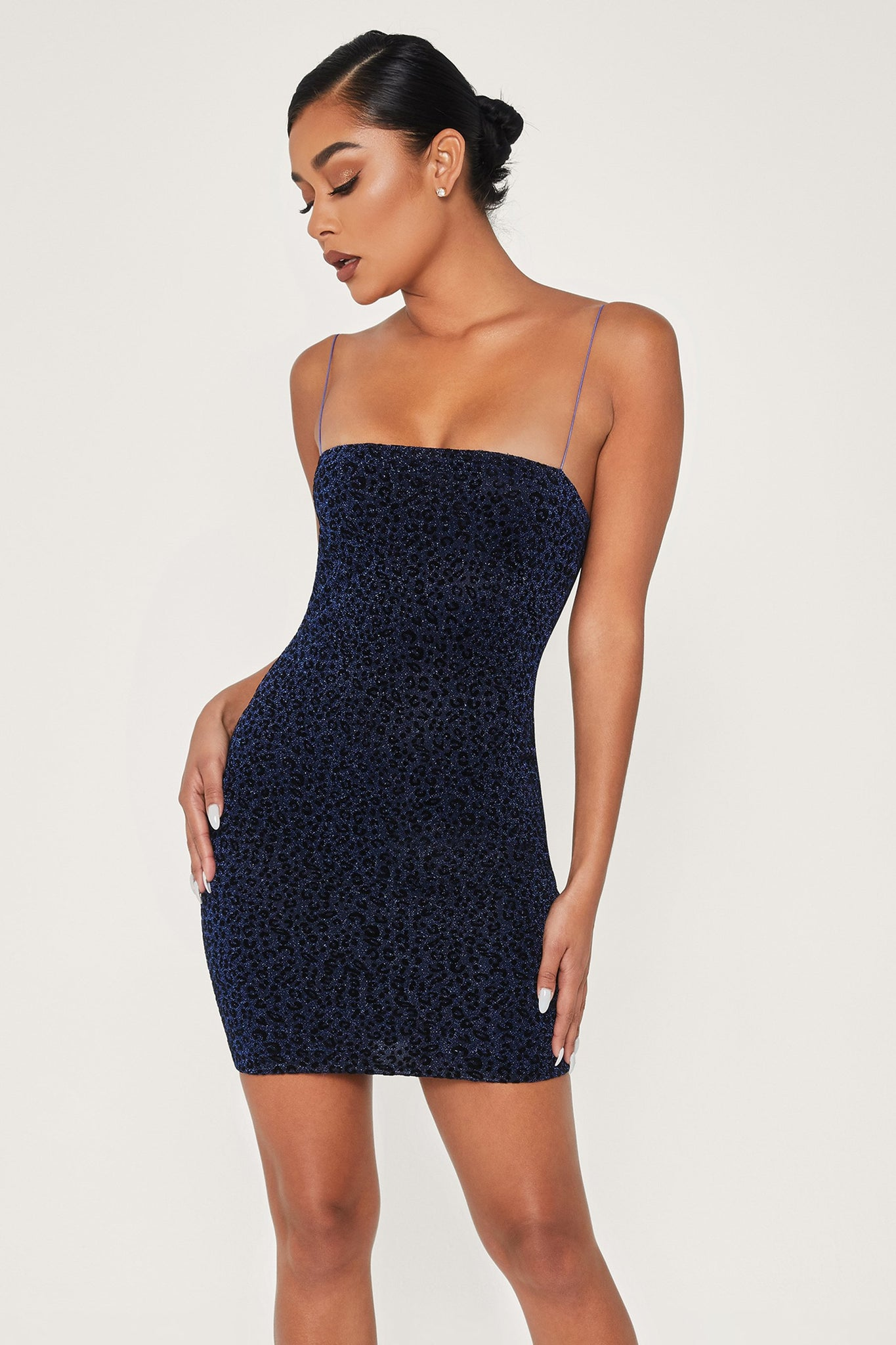 Mia Thin Strap Shimmer Leopard Bodycon Mini Dress - Navy - MESHKI