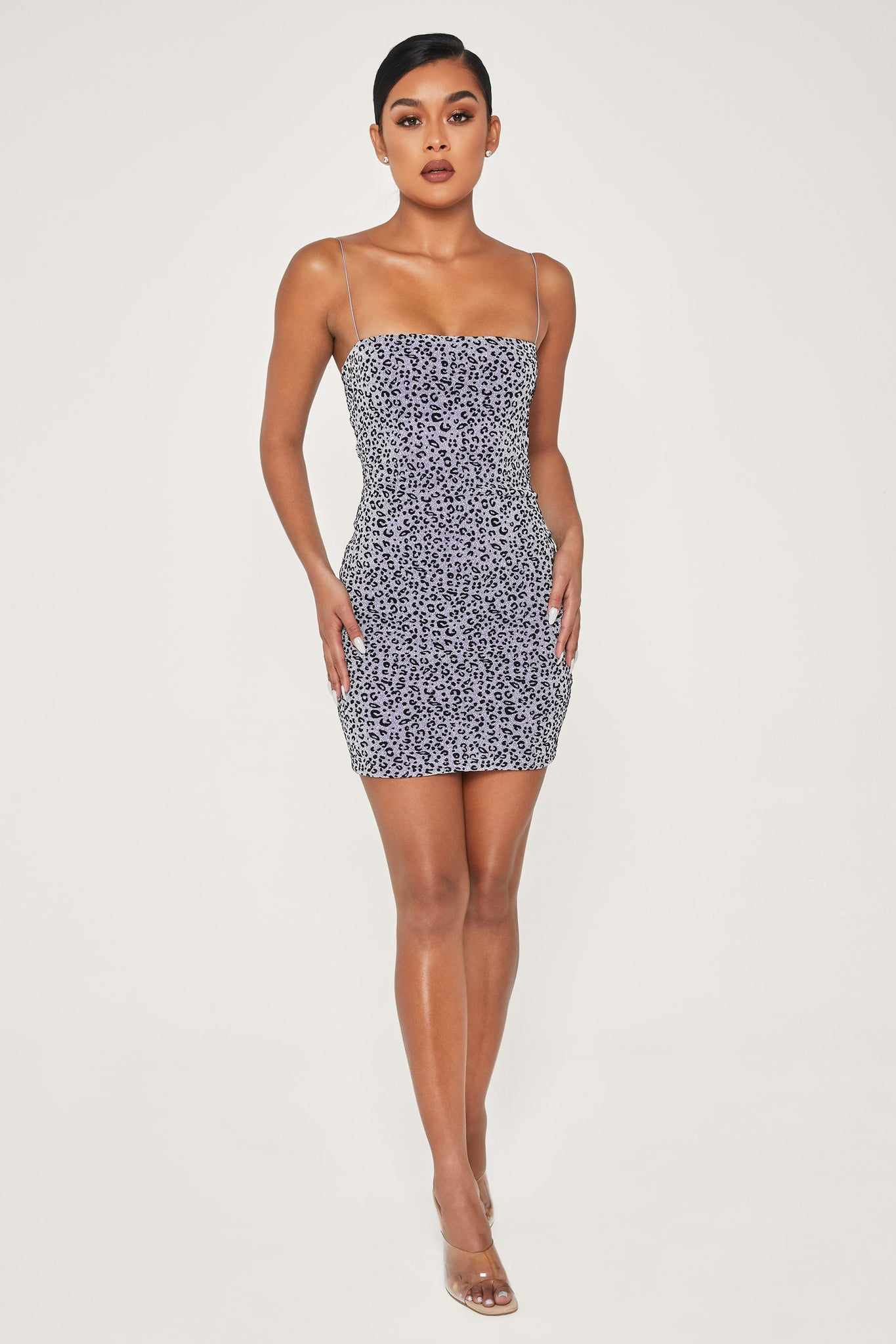 Mia Thin Strap Shimmer Leopard Bodycon Mini Dress - Silver - MESHKI