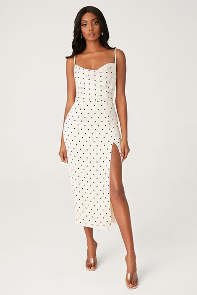 Kimberly Cowl Front Midi Dress - Polkadot