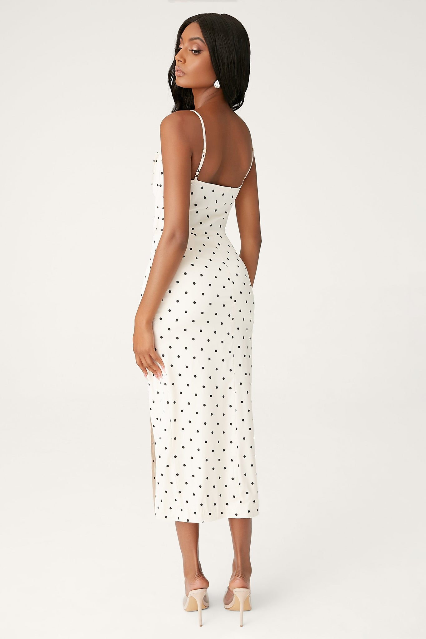 Kimberly Cowl Front Midi Dress - Polkadot - MESHKI