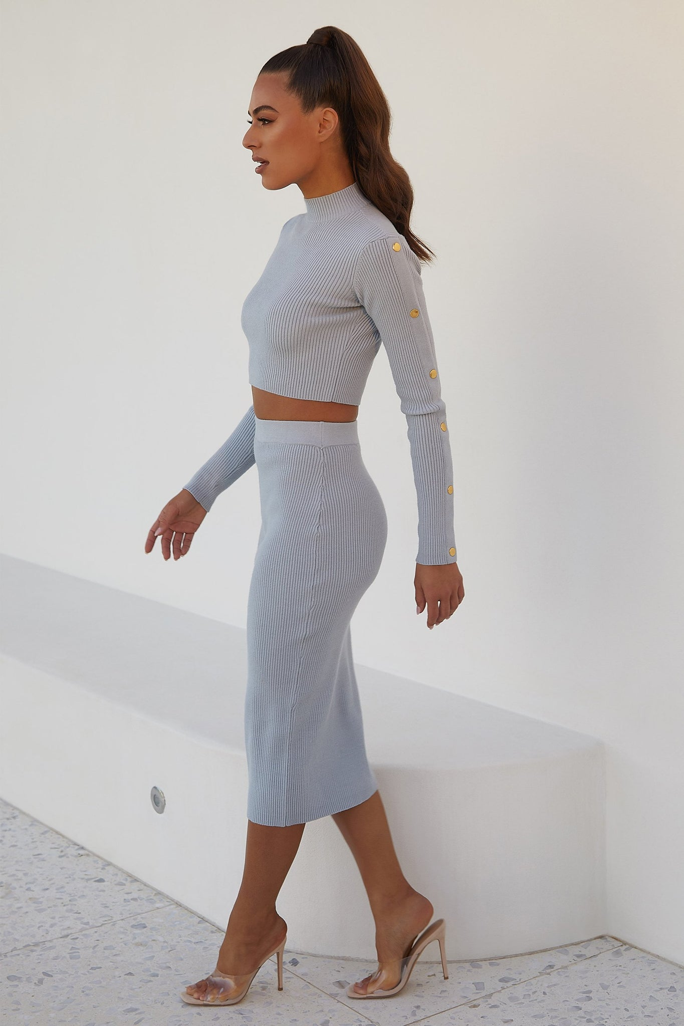 Camber Button Sleeve Detail Crop Top  - Baby Blue - MESHKI