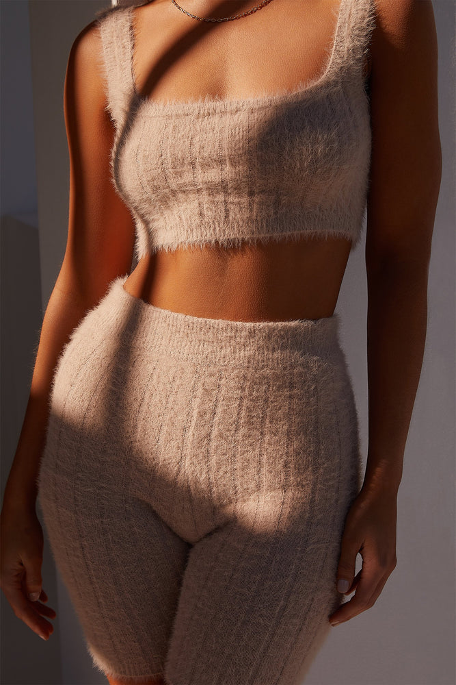 Jasmene Thick Strap Fluffy Knit Crop Top - Caramel - MESHKI