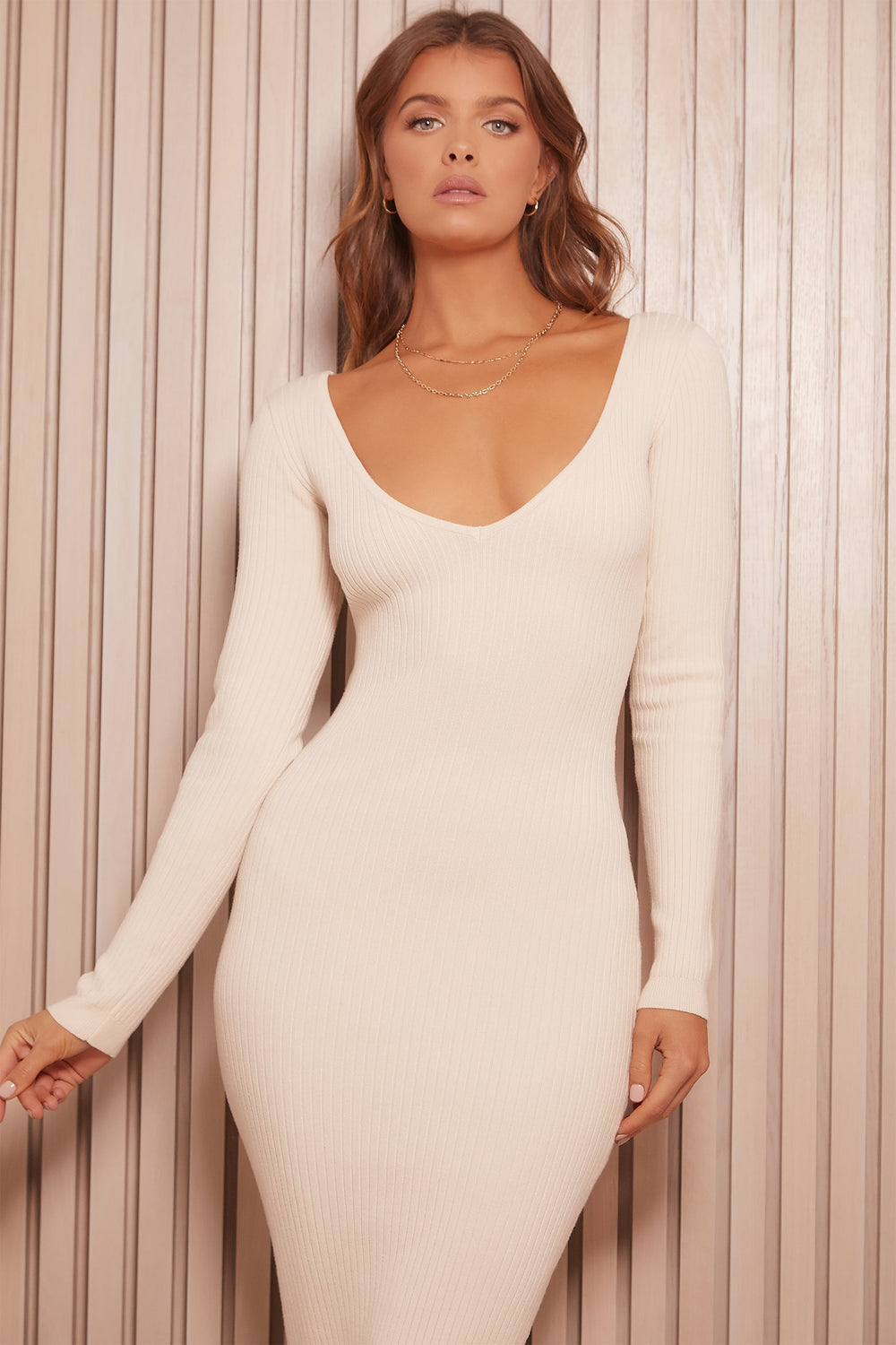 Nina Long Sleeve Ribbed Maxi Dress - Cream - MESHKI