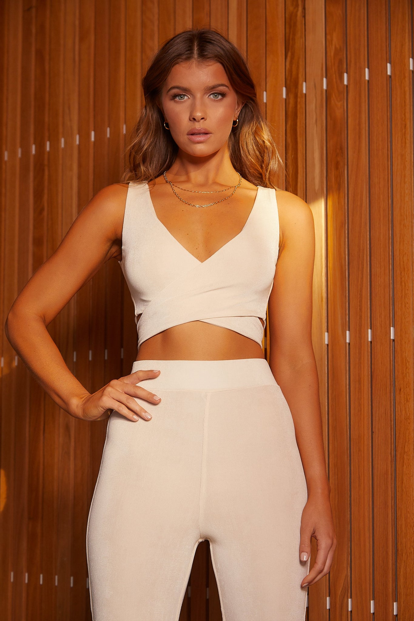 Lauren Luxe Jersey Cross Front Tie Back Crop Top - Cream - MESHKI