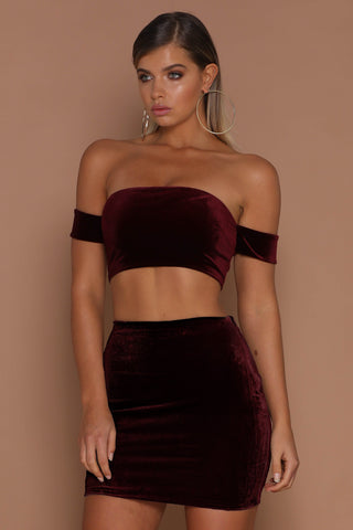 Macia Velvet Mini Skirt - Burgundy - MESHKI