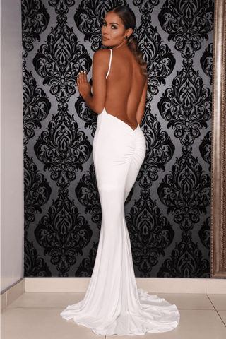 Chile Backless Gown - White - MESHKI