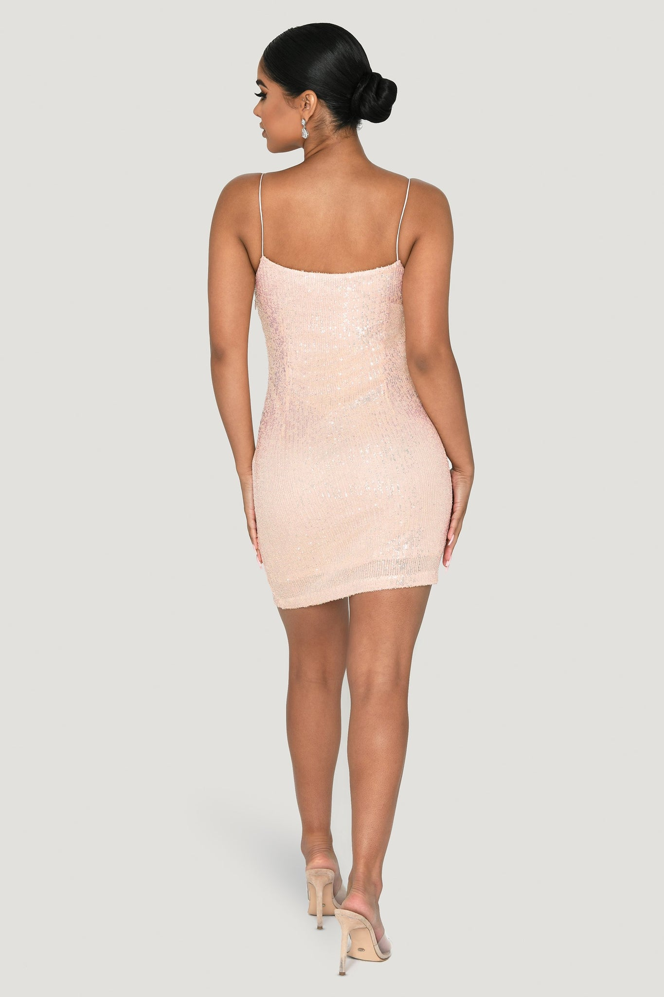 Kyra Thin Strap Bodycon Mini Dress - Iridescent - MESHKI