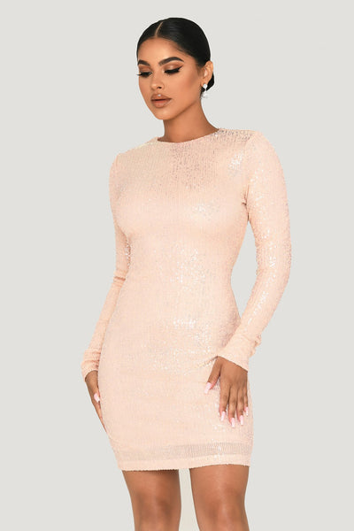 Christina Long Sleeve Dress - Iridescent Pink
