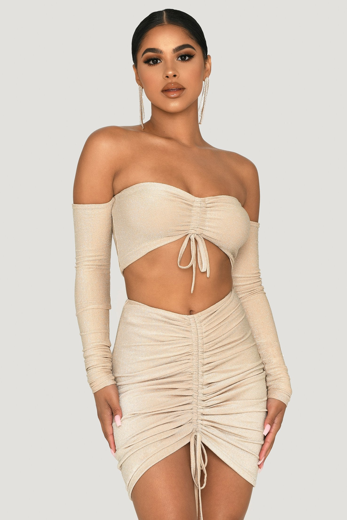 Plus Size Gold Glitter Ruched Front Bodysuit