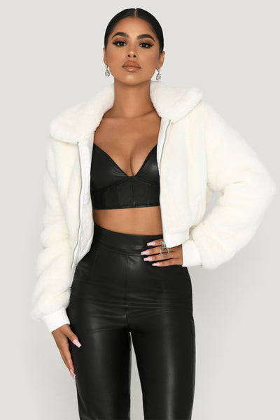 Edie Faux Fur Zip Up Bomber Jacket - White