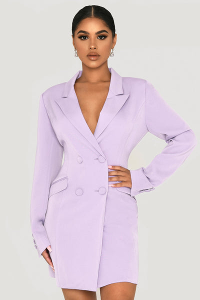 Heather Wide Collar Blazer Dress - Lilac