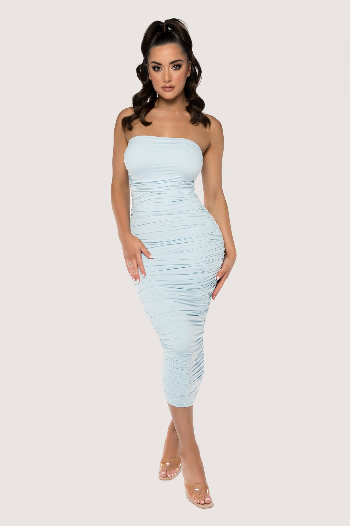 Meshelle Ruched Strapless Midi Dress - BaBy Blue - MESHKI