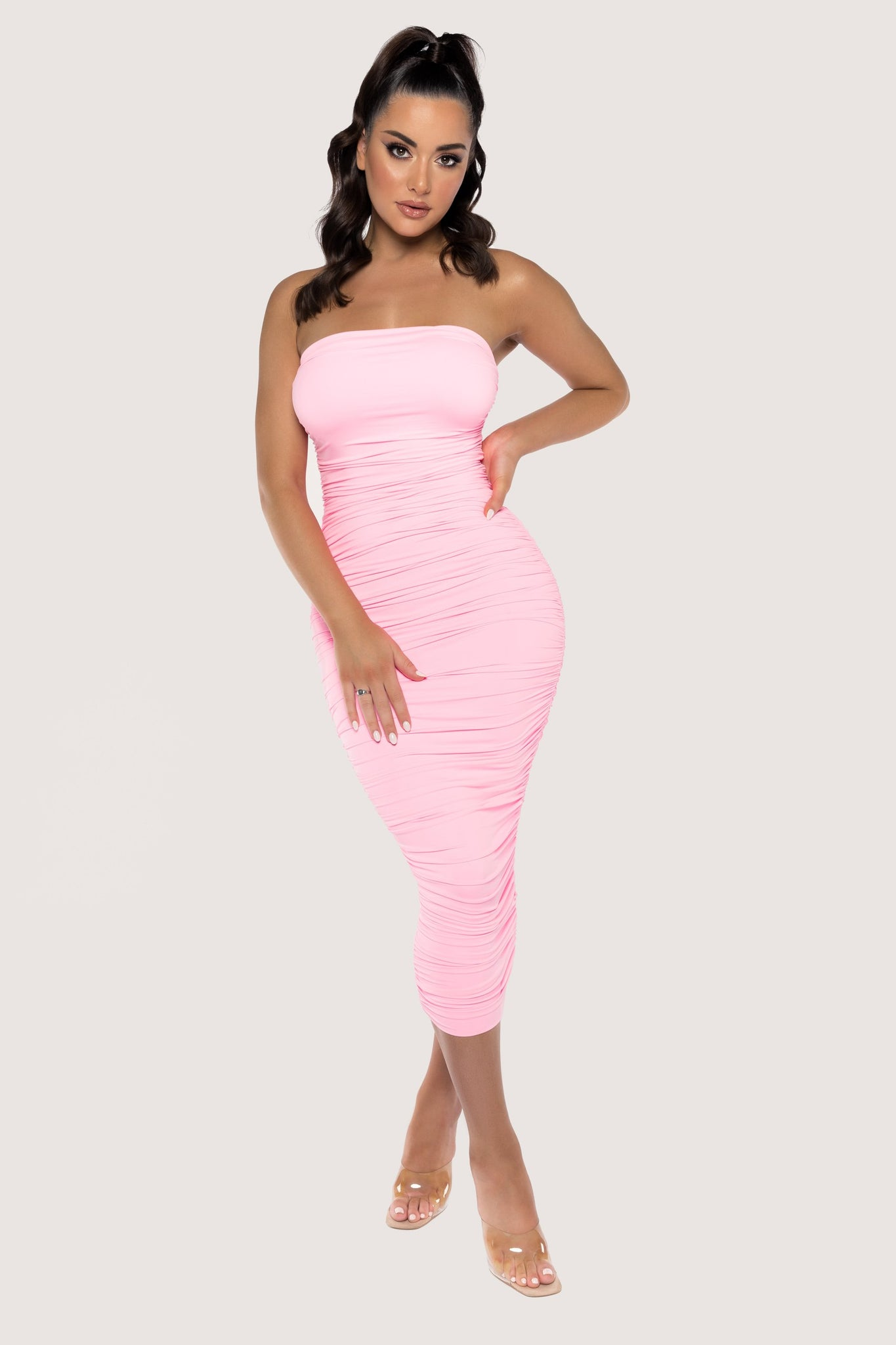 Meshelle Ruched Strapless Midi Dress - Pink - MESHKI
