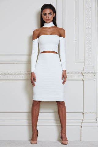 Mimi Multiway Choker Midi Dress - White