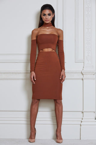 Mimi Multiway Choker Midi Dress - Tan - MESHKI