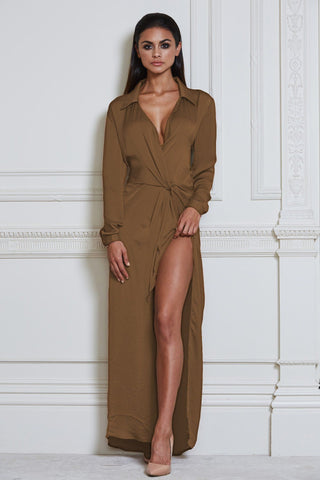 Calandra Maxi Shirt Dress - Tan