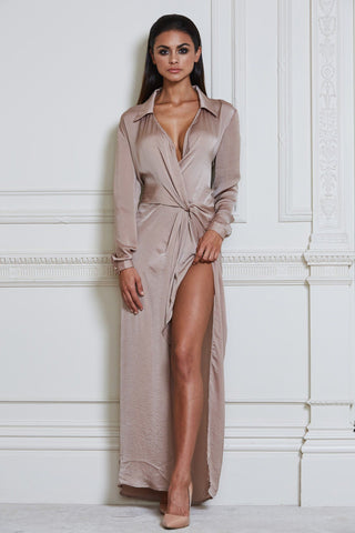 Calandra Maxi Shirt Dress - Nude