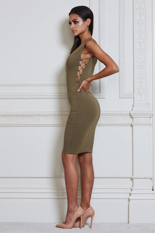 Claudia Criss Cross Midi Dress - Khaki