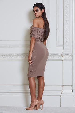 Indra Off-Shoulder Midi Dress - Mocha