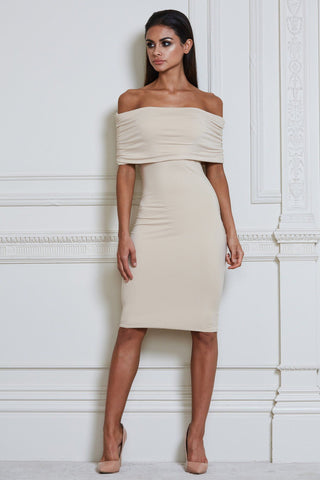 Indra Off-Shoulder Midi Dress - Beige