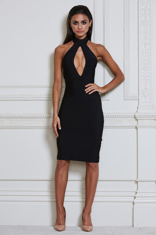 Mira Bandage Midi Dress - Black