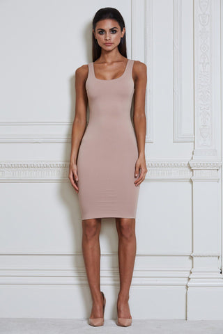 Sia Bodycon Midi Dress - Nude
