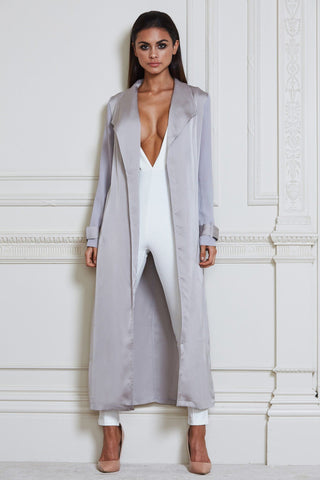 Cora Satin Trench Coat - Grey
