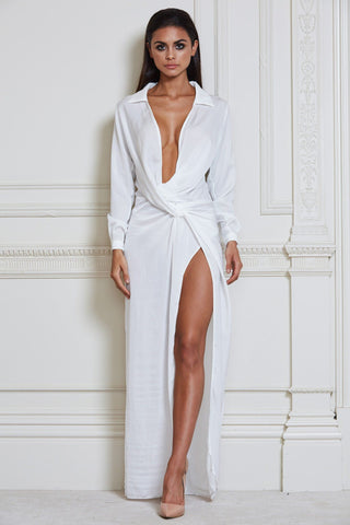 Calandra Maxi Shirt Dress - White