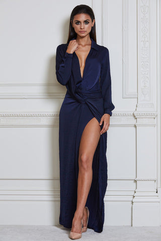 Calandra Maxi Shirt Dress - Navy