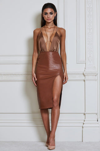 Vittoria Faux Leather Midi Skirt - Tan