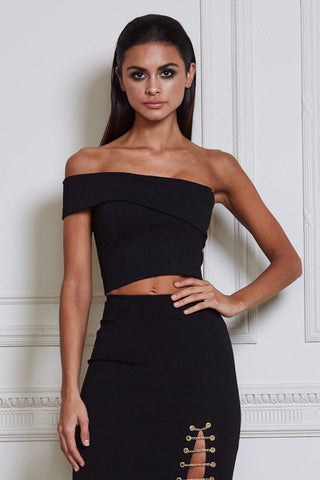 Abby Angled Crop Top - Black