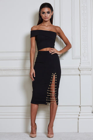 Kenza Chain Midi Skirt - Black