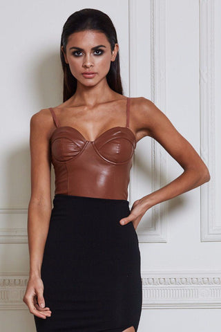 Tonia Faux Leather Bodysuit