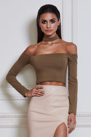 Vanna Long Sleeve Choker Crop Top - Khaki